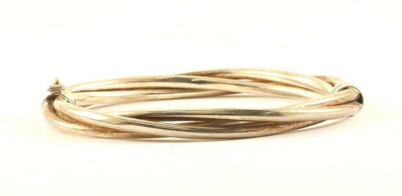 273834764872 Vintage Silver Three Twisted Rows Design Bangle Bracelet 925 Sterling Br 3278