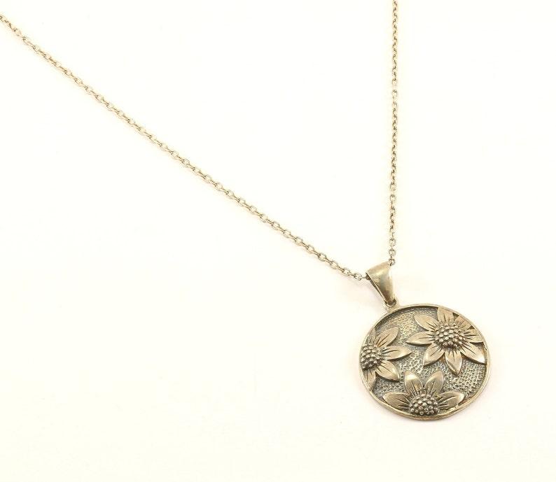 Vintage Flower Floral Design Chain Link Necklace 925 Sterling Silver NC 817