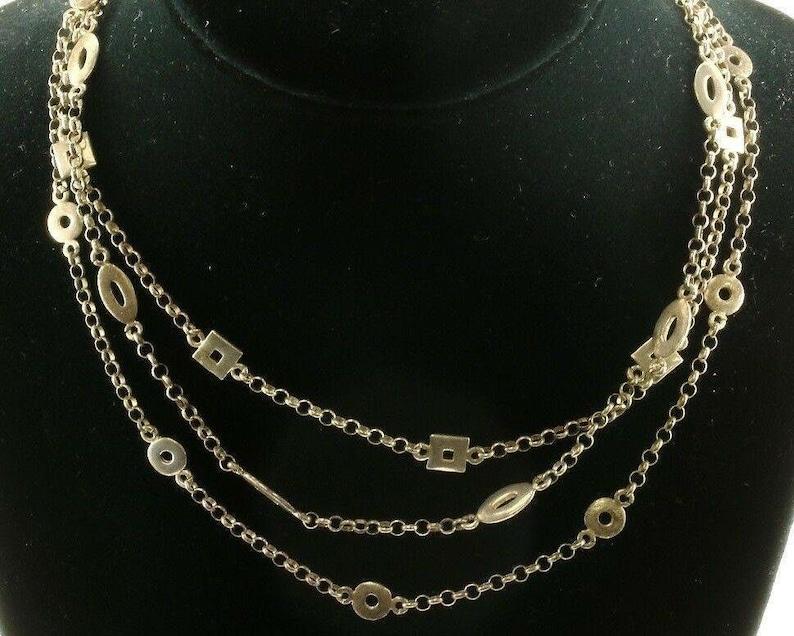 Vintage Three Strands Geometric Design Necklace 925 Sterling Nc 1242 273875147768