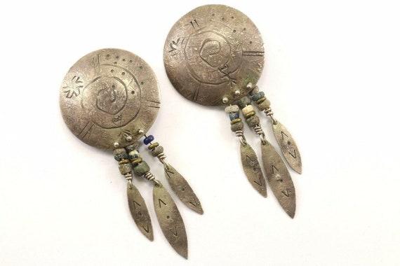 Vintage Large Navajo Notched Dropdangle Earrings 925 Sterling Er 940 123759757477