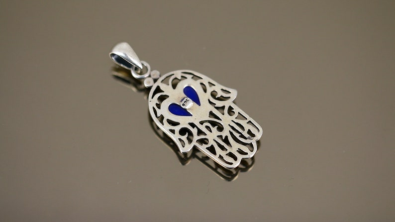 Vintage Flat Asian Hand Indian Arabic Hamsa Scroll Blue Stone Shape Design Pendant 925 Sterling PD 2578