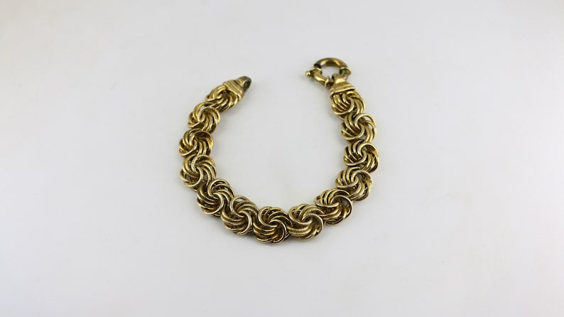 Vintage Italy Beautiful Gold Plated Round Scrolls Byzantine Chain Design Link Bracelet 925 Sterling BR 1982J