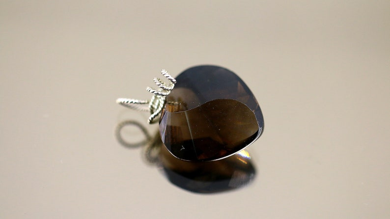 Vintage Beautiful Smoky Brown Heart Shape Crystal Design Pendant 925 Sterling Silver PD 980