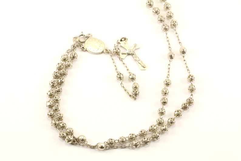 Vintage Religious Cross Crucifix Rosalie Open Beads Design Chain Link Necklace 925 Sterling Silver NC 1733
