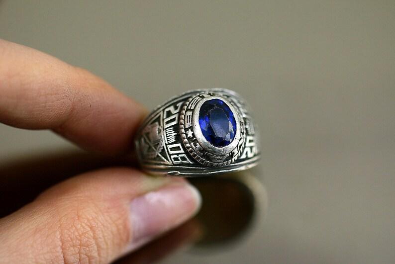 Vintage Oval Blue Crystal 2008 MAT School Design Ring 925 Sterling Silver Size 8.75 RG 519