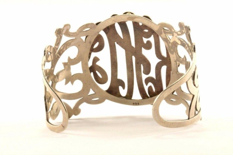 123765815075 Vintage Large Scroll Design Khc Initial Cuff Bracelet Sterling Silver Br 2839