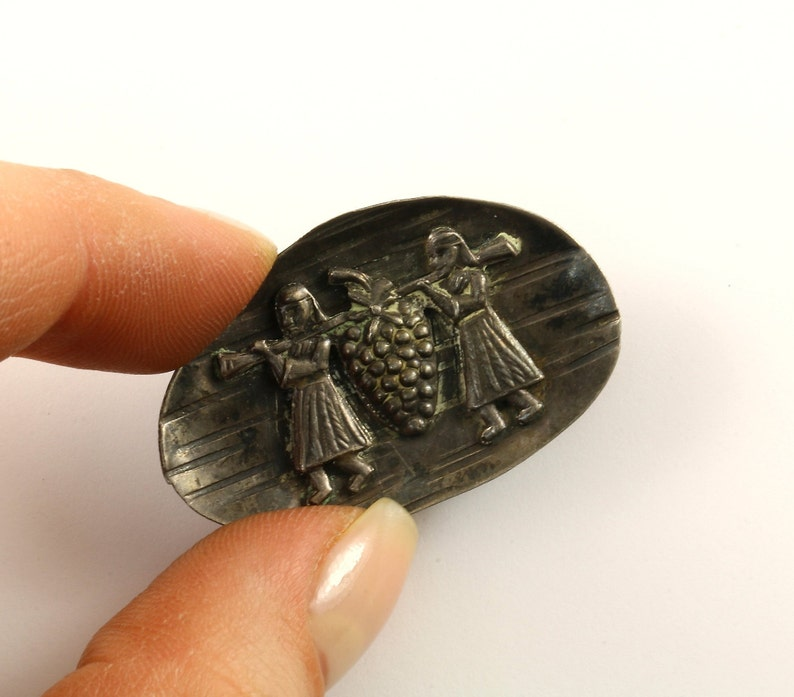 Vintage Small Mexico Aztec Design Brooch 925 Sterling Silver BB 1755