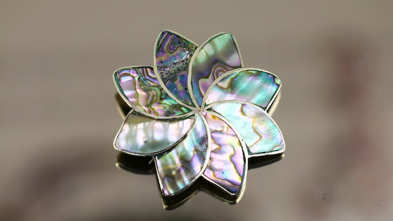 Vintage Beautiful Abalone Shell Flower Design Brooch 925 Sterling Silver BB 1866
