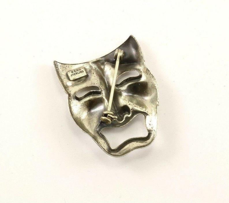 Vintage Beau Theater Drama Tragedy Mask Design Pinbrooch 925 Sterling Bb 593 123720982900