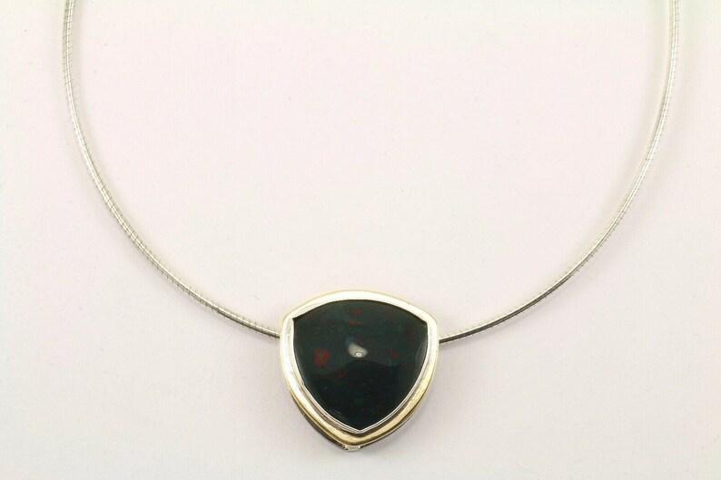 123765813428 Vintage Green Jasper Pendant Necklace 925 Sterling Nc 947
