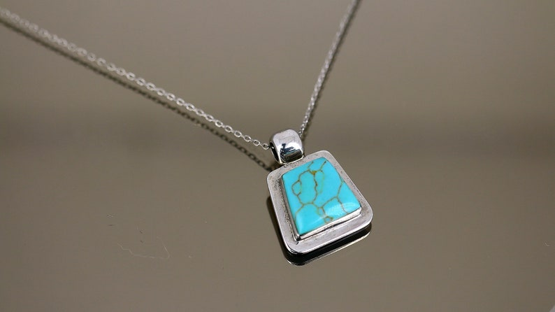 Vintage Mexico Turquoise Trapezoid Shape Pendant Chain Design Necklace 925 Sterling Silver NC 2019
