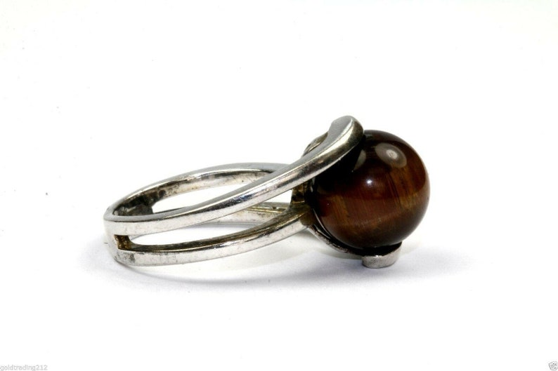 273833034577 925 Sterling Vintage Tiger/'s Eye Bead Overlap Bars Ring Rg 1384