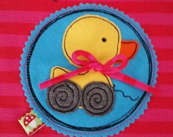 Ducks Goose Button turquoise applique loop