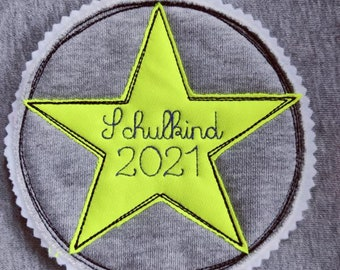 Neon blue Name Button Application Patch Name School Bag School School School Enrolment SchoolChild 2021