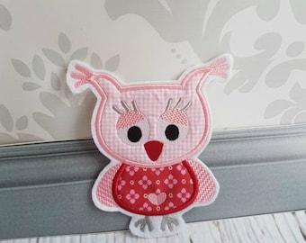 Cute Pink Owl Applique Owls Owl