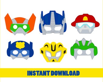 Transformers Party Masks Decor Birthday Photo Booth Props Printable Supplies Transformer Bday Printables