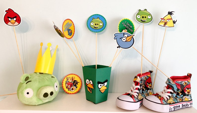 Angry Birds Toppers Printables Angry Birds Centerpieces Angry Etsy