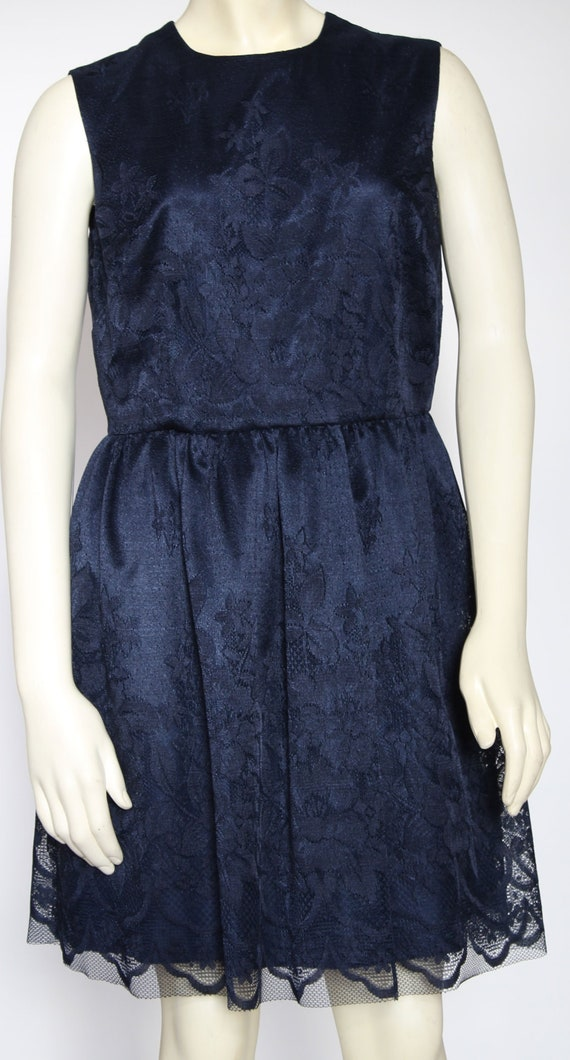Navy Blue Lace Dress Dark Blue Dress Navy Dress Lace Sleeveless Dress Jewel Neck Dress Sleeveless Lace Dress