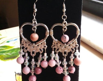 Handmade Heart chandelier earrings genuine rhodochrosite stones for Innerstrength, heart and solar plexus chakras, Arch Angel Auriel,Chamuel