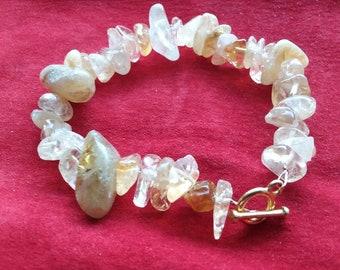 Genuine Citrine chunky handmade gemstone bracelet