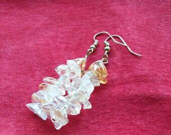 Genuine Citrine handmade  gemstone dangle earrings