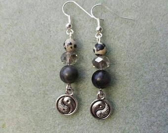 Yin/Yang genuine Dalmatian Jasper handmade dangle  earrings