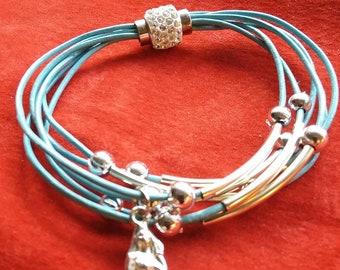 Mermaid charm leather bracelet