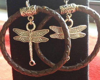 Leather and Silver Dragonfly handmade earrings