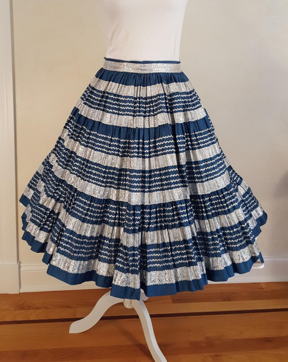 Vintage 50's Slate Blue Patio Skirt with Silver Ri