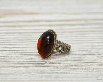 Broosh Amber Cupronickel Jewelry Filigree