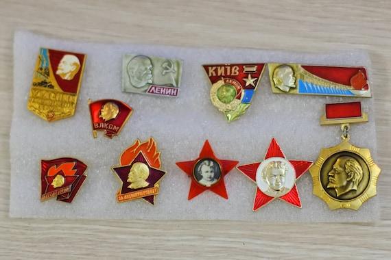 icon Set of 8 soviet badges USSR badge vintage lenin pins soviet badge retro badges antique badge soviet comminist Soviet badges
