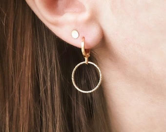 Sunna Mini Creole // Golden Sleeper with Fine 24K Gold and Circle Stamp in Gold Filled 14K