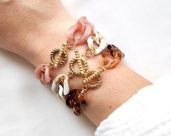 VINTAGE bracelet // Acrylic large link chain