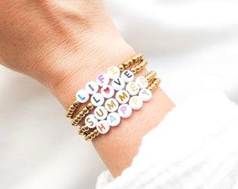 Bracelet MANTRA DIVINE // Perles en acier inoxydable doré sur fil élastique à personnaliser