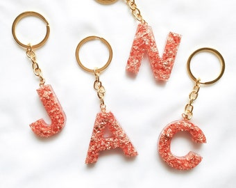 Key ring letters & resin numbers with inclusion of copper foil