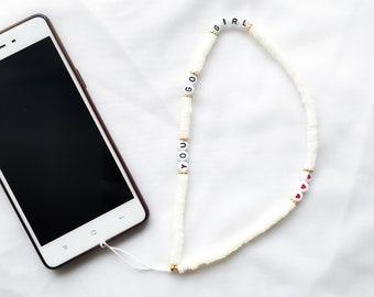 Cordon grigri bijou de téléphone MANTRA à personnaliser // Perles alphabet blanches, lettres noires