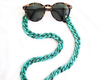 Goggle chain - VINTAGE multifunction mask // Turquoise blue acrylic chain