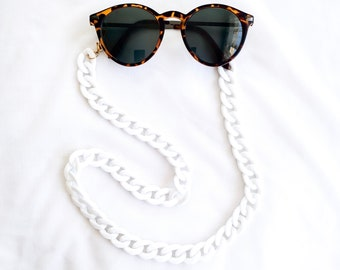 Goggle chain - VINTAGE multifunction mask // White acrylic large link chain