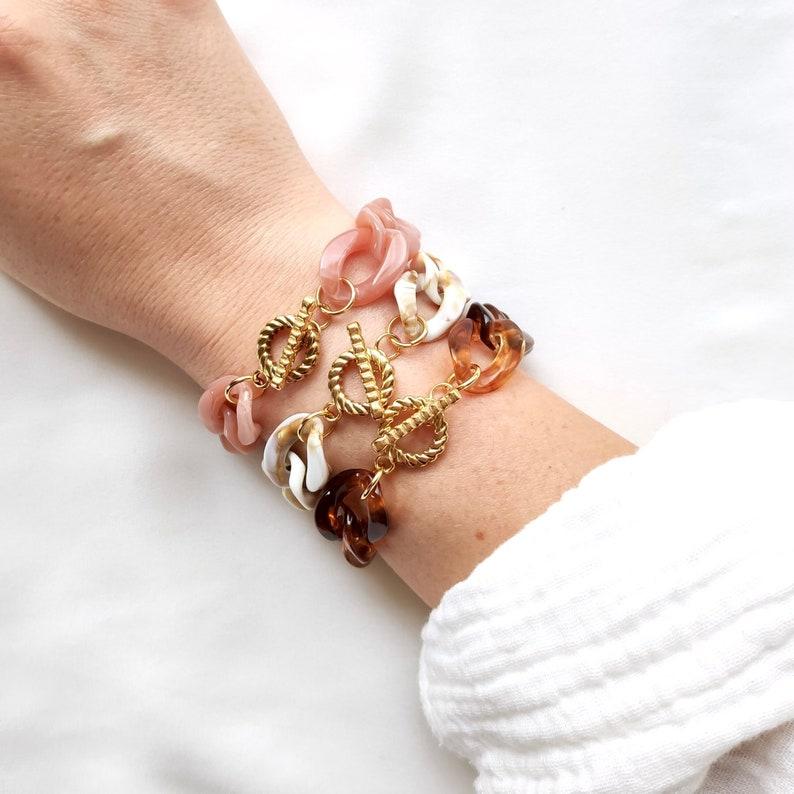 VINTAGE bracelet // Acrylic large link chain image 1