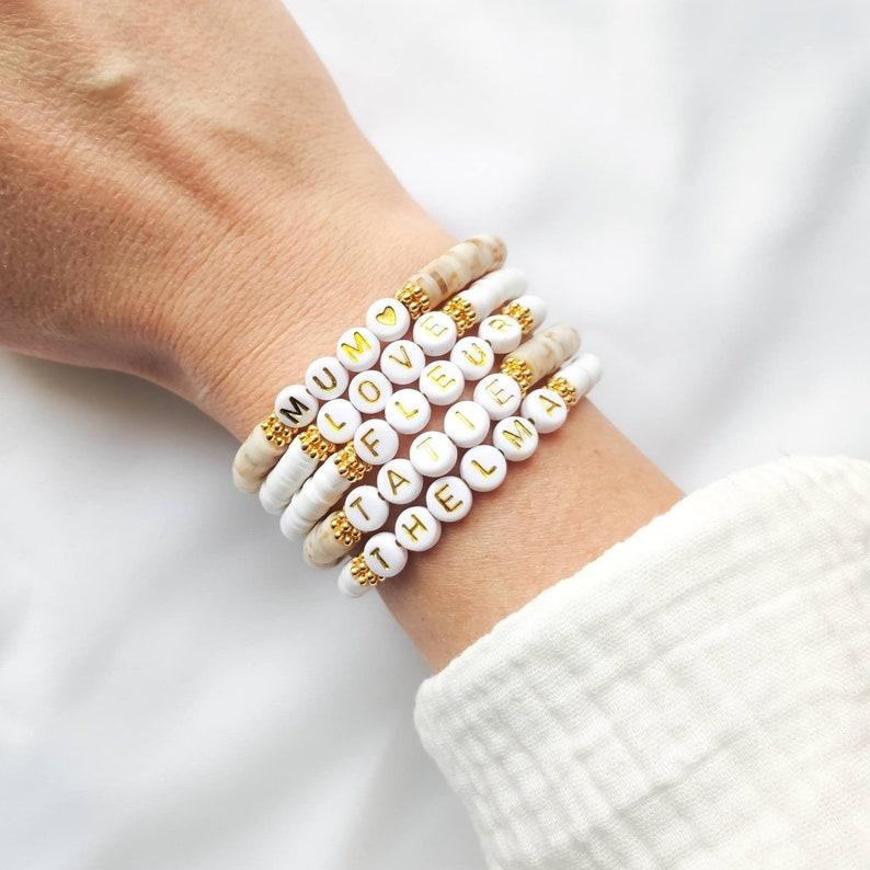 Bracelet MANTRA SUMMER // Perles surfeur Heishi sur fil image 0