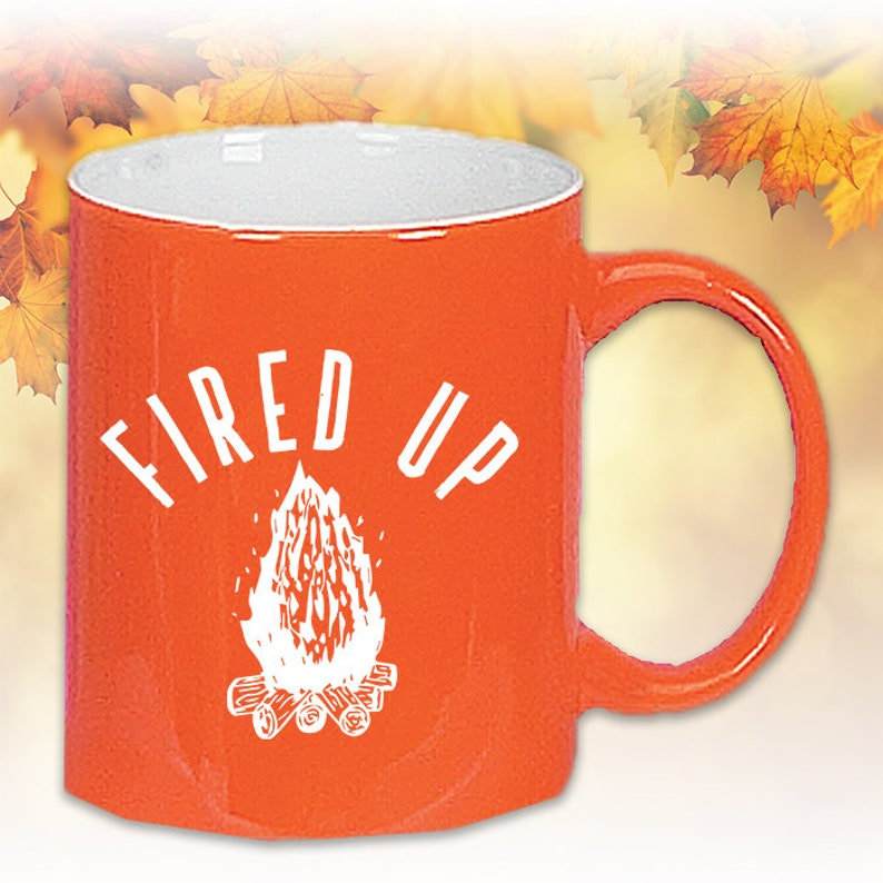 Cozy Coffee UpCeramic GiftHalloween BonfiresCamping Fall Cocoa Fired Orange Fun MugsGreat thxdsQBrC