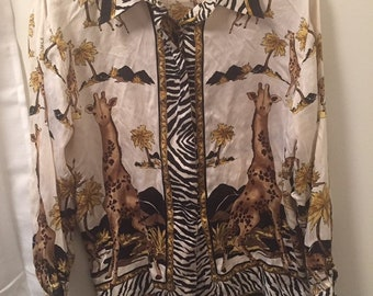 2c688ec65edf Vintage Jessica Holbrook 100% silk blouse. Long sleeve button up African  animal theme, Zebra print giraffe motif, with shoulder pads .Size L