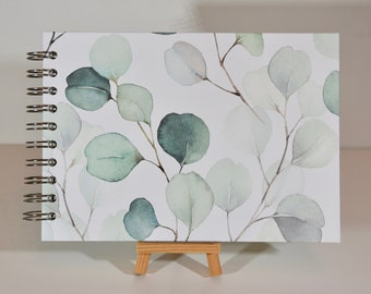 """A5 photo album """"Great Eucalyptus branches"""" with 15 white sheets, album for scrapbooking"""