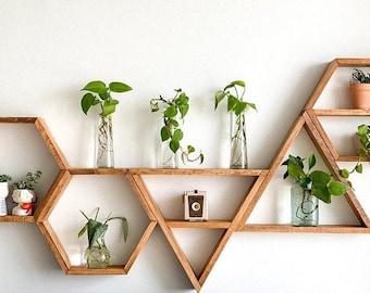 Set of Wood Hexagon and Triangle Shelves - Home Decor - Wall Hangings - Honeycomb Shelves - Triangle Shelves