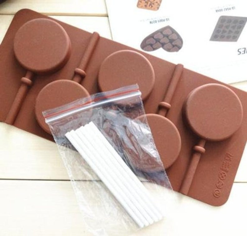 5 round Lollipop Mold Cake Silicone Mould For Candy Chocolate Cookie Ice Craft