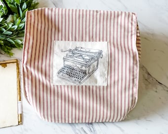 """Portable Vintage Typewriter Cover   Red Ticking Fabric with an Upright Typewriter Patch   12.5"""" wide X 11"""" deep X 5"""" tall   Handmade"""