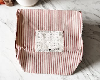 """Portable Vintage Typewriter Cover   Type Sheet Patch   12.75"""" wide X 11.25"""" deep X 6"""" tall   Handmade"""