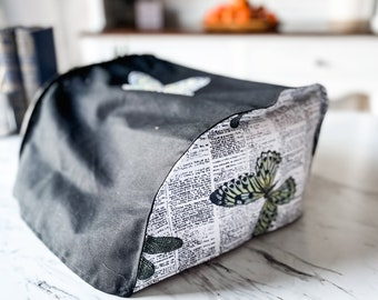 """Portable Typewriter Cover   Butterfly Patch   12.75"""" x 11.25"""" x 6""""   Fits portable vintage typewriters   Handmade"""
