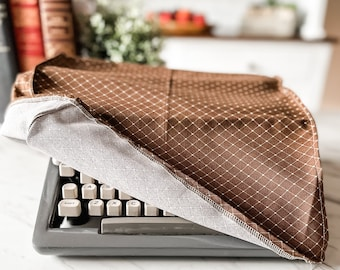 """Portable Vintage Typewriter Cover   Brown fabric with a diamond pattern   12"""" wide X 11.75"""" deep X 5.5"""" tall   Handmade"""
