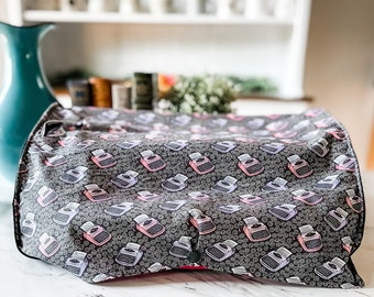"""Large Typewriter Cover   BUTTON front. Purple and Pink Typewriters Pattern   17""""w x 13""""d x 6""""h   Top Slip for handle   Handmade by Mom"""
